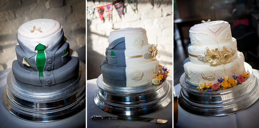 His and hers two sided wedding cake