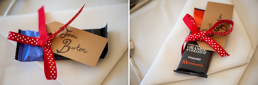 Chocolate bars with personal hand written labels, tied with ribbon to match the wedding theme.