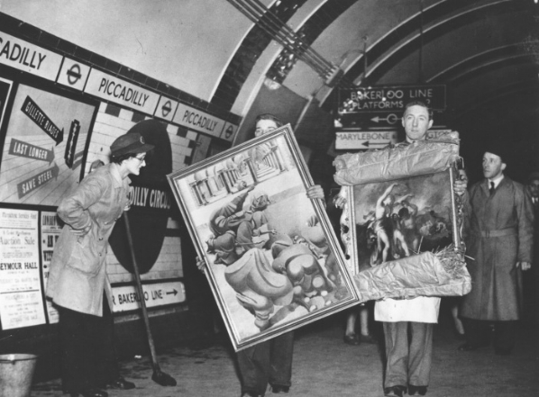 Works returning from storage in Piccadilly Underground station in 1946. Tate archive