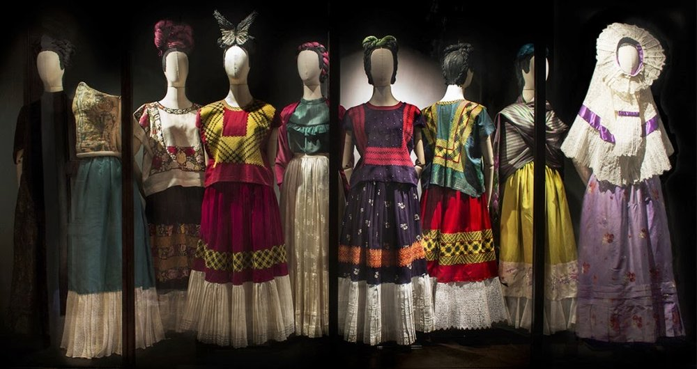 A selection of native Tehuana looks on view at the Museo Frida Kahlo exhibition. Photo by Miguel Tovar.