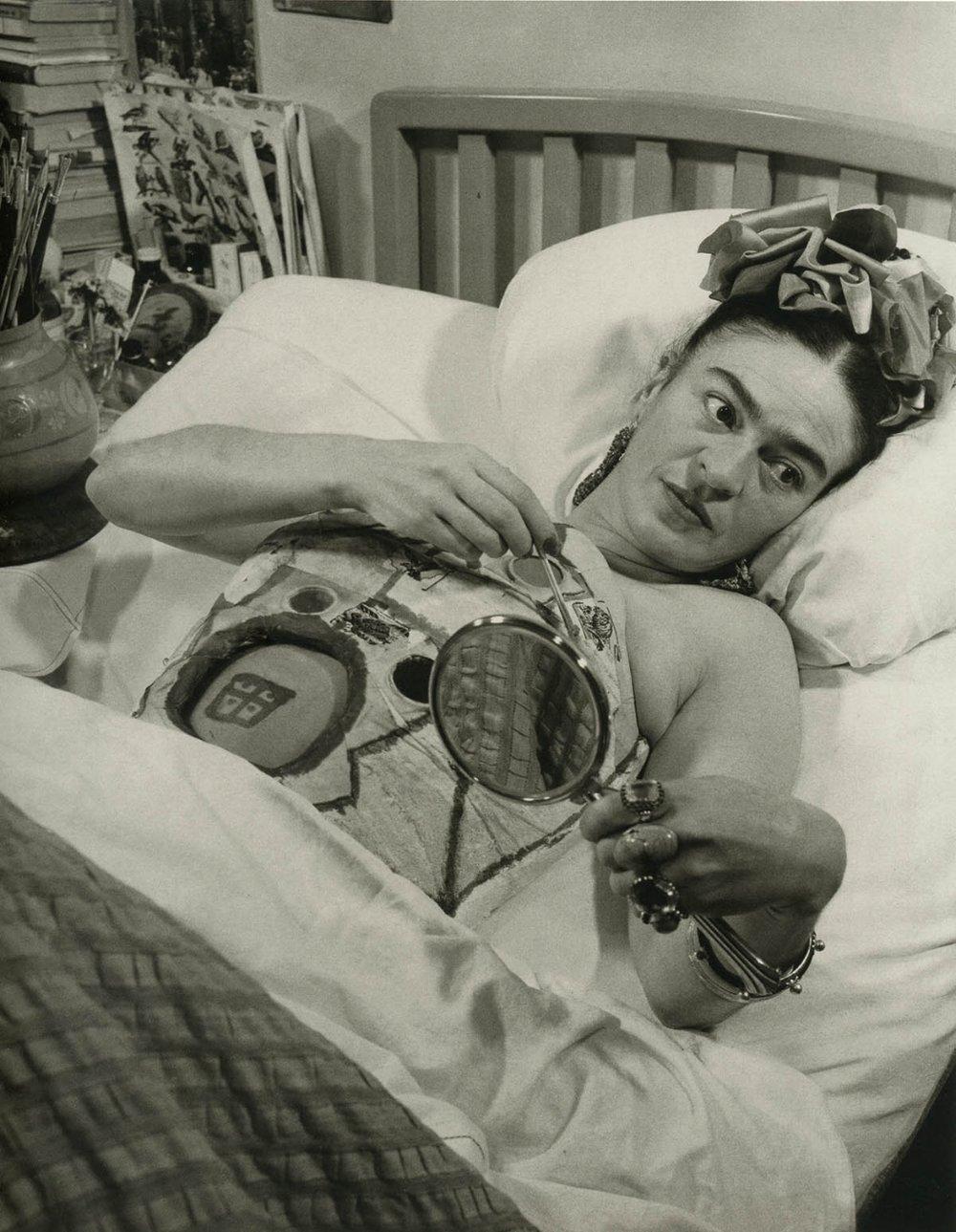 Juan Guzmán, 'Frida Kahlo in hospital bed holding mirror', c1950s