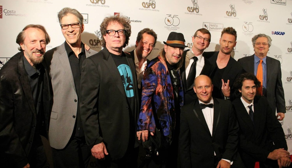 C harles Bernstein, Peter Bernstein, Randy Edelman, Nathan Barr, Christopher Young, Robert Townson, Brian Tyler, Lee Holdridge, (front) Steven Allen Fox & Cliff Eidelman at the Varese Sarabande 35th Anniversary Halloween Gala with the Golden State Pops Orchestra and Chorale