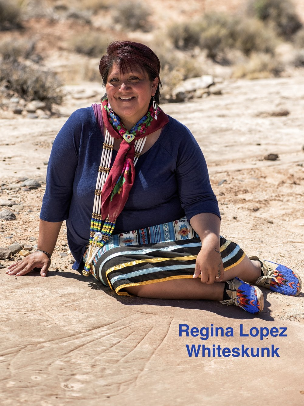 Regina Lopez-Whiteskunk was born and raised in southwestern Colorado. A member of the Ute Mountain Ute Tribe of Towaoc, Colorado. At an early age has advocated for land, air, water and animals. She has spent ten years in the Information Technology field working for Chief Dull Knife College, the Southern Ute Indian and Ute Mountain Ute Indian Tribes of Colorado. Lopez-Whiteskunk has traveled extensively throughout the the country presenting and sharing the Ute culture through song, dance and presentations. In October of 2013 she was elected to serve as a member of the Ute Mountain Ute Tribal leadership. Lopez-Whiteskunk is a former Co-Chair for the Bears Ears Intertribal Coalition. She strongly believes that the inner core of healing comes from the knowledge of our land and elders. Formerly, the Education Director for the Ute Indian Museum in Montrose, Colorado, she is honored to continue to protect, preserve and serve through education creating a better understanding of our resources and culture.