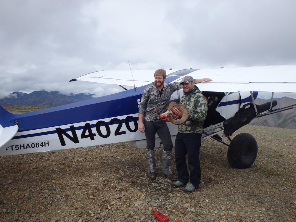Piper Super Cub на вершине горы.