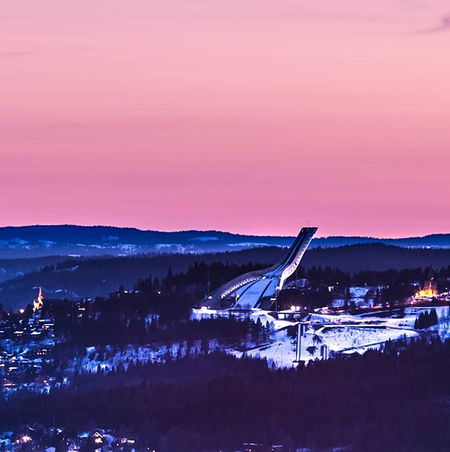Holmenkollen ski jump after sunset. Photographed from Grefsenkollen 📷😊