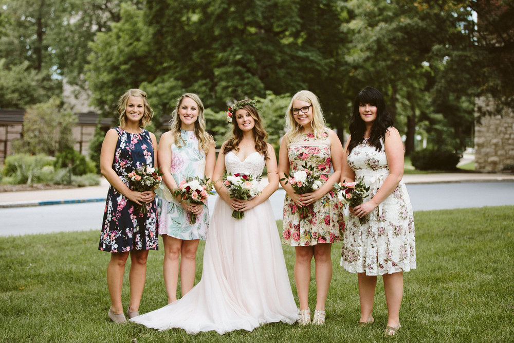 bride and bridesmaids - 90s floral bridesmaids dresses
