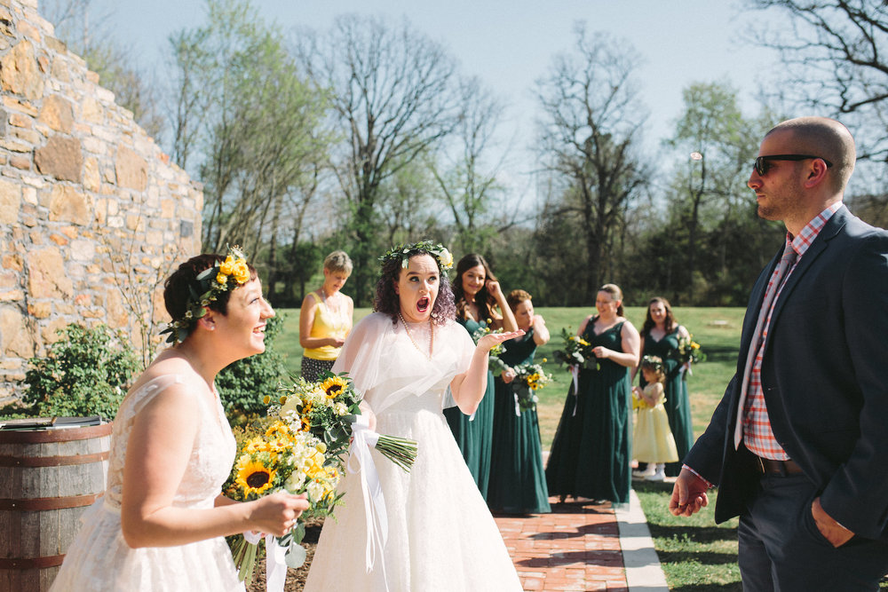 Kris' brother-in-law flipped a coin to see which bride would walk down the aisle first!