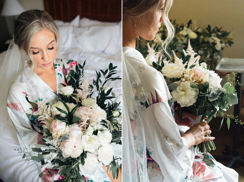 bridal prep robes and hairstyle poses