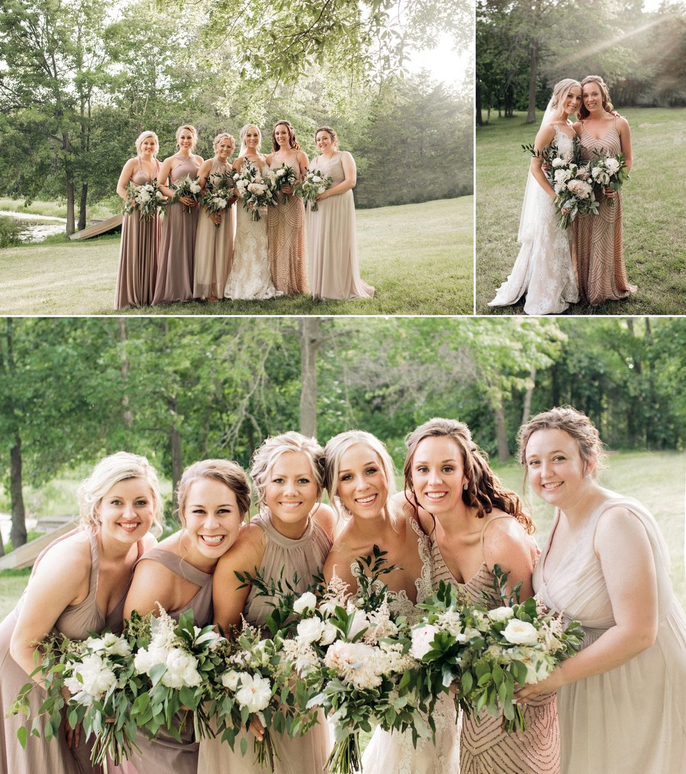 bridal party portraits rustic and bohemian