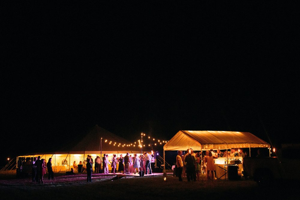 reception tent after dark