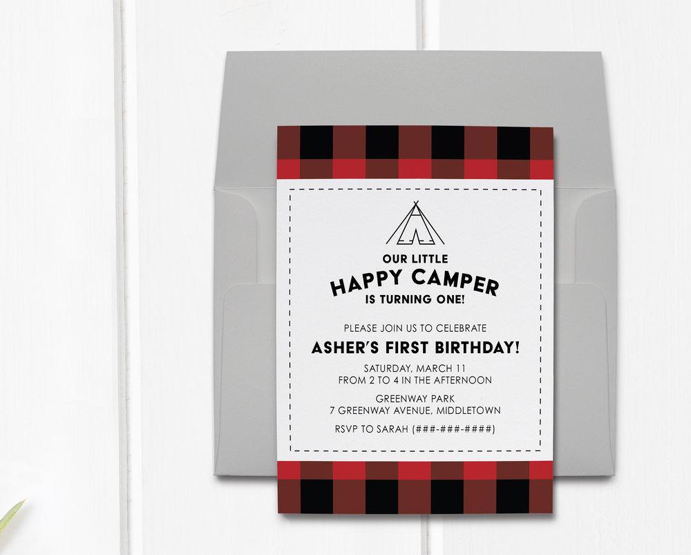 Happy Camper Invitation Saylor See Creative Studio