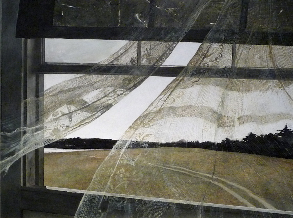 Andrew Wyeth,  Wind from the Sea,  1947, tempera on hardboard National Gallery of Art, Washington, Gift of Charles H. Morgan © Andrew Wyeth