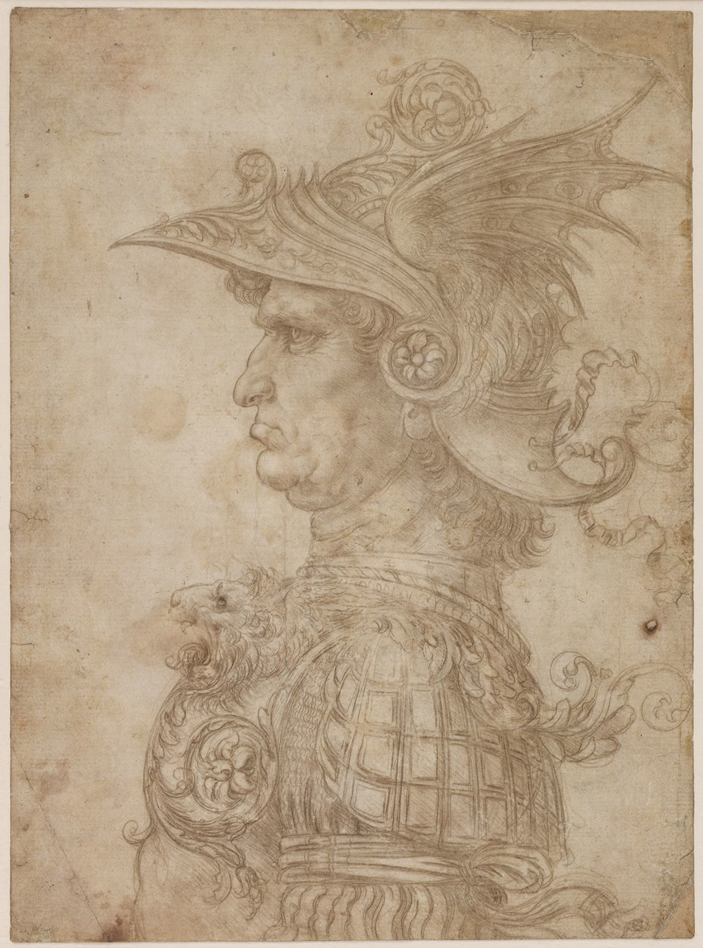 Leonardo da Vinci,  A Bust of a Warrior,  c. 1475/1480 silverpoint on cream prepared paper On loan from The British Museum, London © The Trustees of The British Museum, London