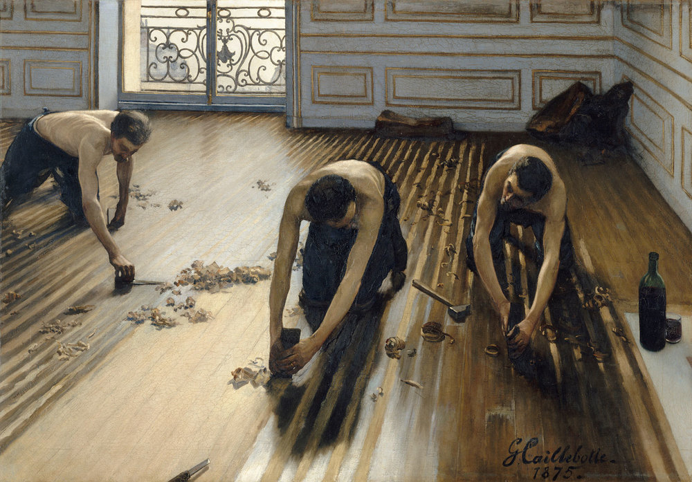 Gustave Caillebotte  The Floor Scrapers , 1875  oil on canvas overall: 102 147 cm (40 3/16 57 7/8 in.) Musée d'Orsay, Paris, Gift of Caillebotte's heirs through the intermediary of Auguste Renoir, 1894
