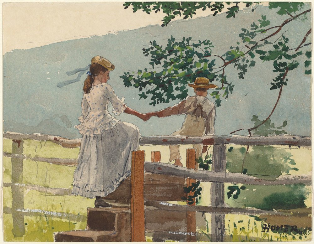 Winslow Homer On the Stile, 1878 watercolor, gouache, and graphite on wove paper sheet: 22 × 28.4 cm (8 11/16 × 11 3/16 in.)