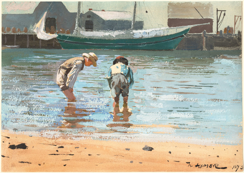 Winslow Homer Boys Wading, 1873 watercolor and gouache over graphite on wove paper sheet: 24.77 × 34.93 cm (9 3/4 × 13 3/4 in.)