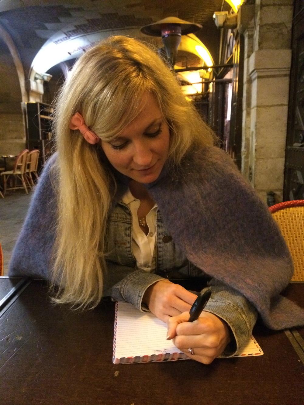 Late night writing at Hugo's restaurant