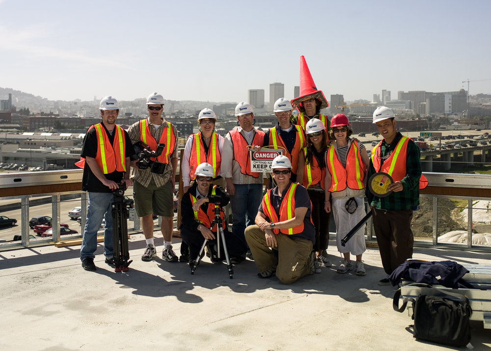 "Oracle Photoshoot Crew in San Francisco  (I'm standing next to ""cone"" head.)"