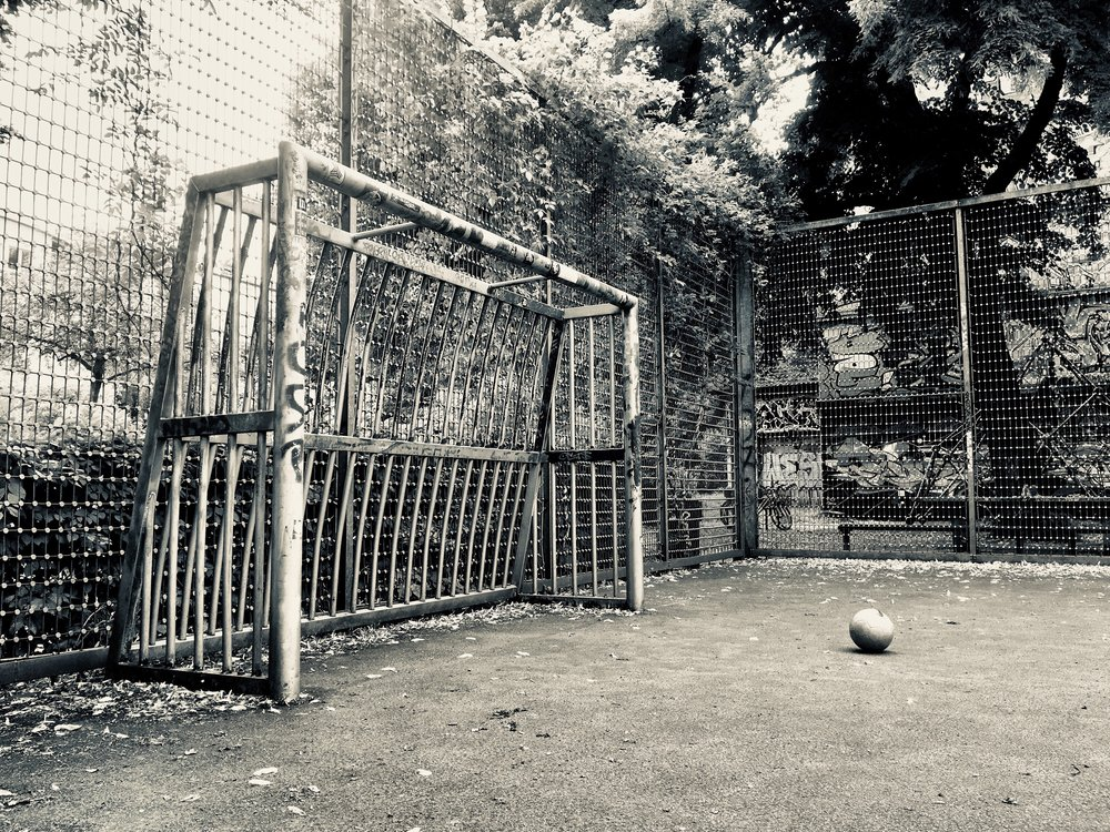 Sternschanze, Hamburg, Germany   The ball was there and spray painted silver, same as the goal.