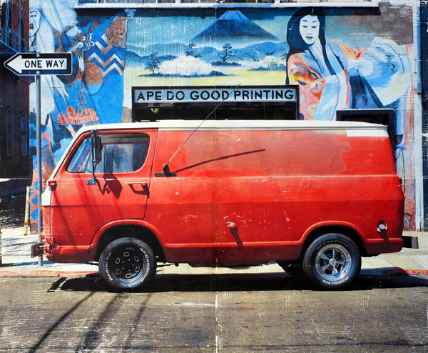 Orange Van, Original photo and acrylic paint on panel, 20 x 24 in.