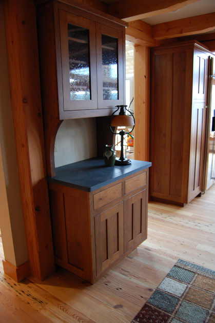 Stained cherry built-in hutch.