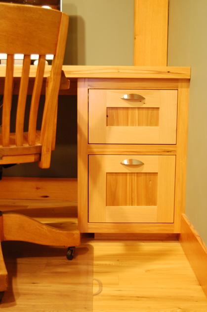 Mix of reclaimed elm and beech desk.