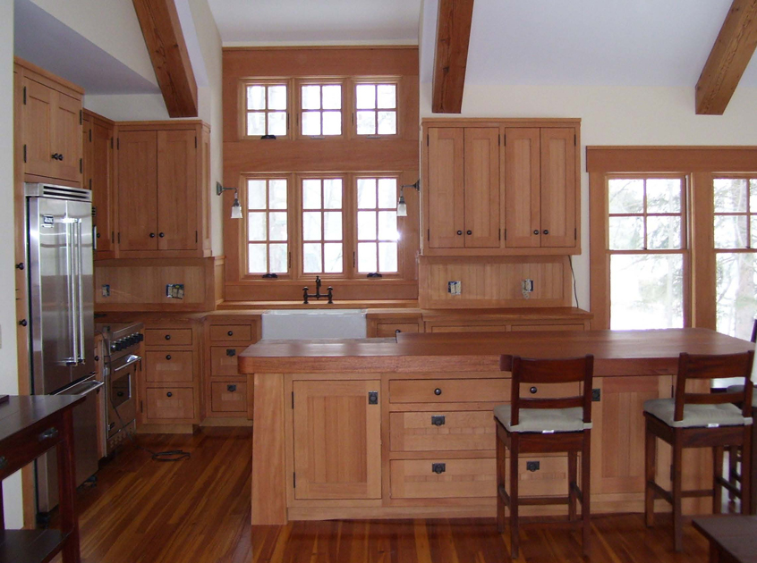 Clear vertical grain Douglas fir boathouse kitchen.