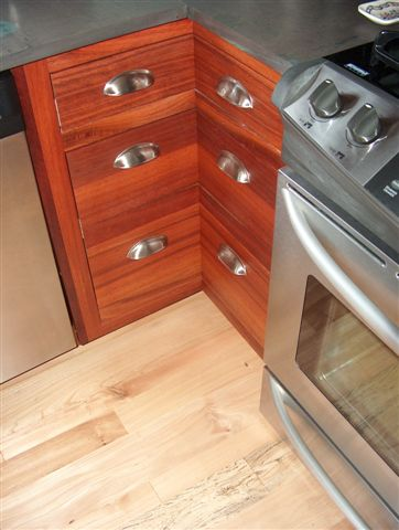 Corner drawers, handcrafted from reclaimed Jarrah.