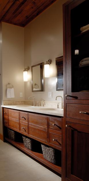 Reclaimed Jarrah bath vanity.