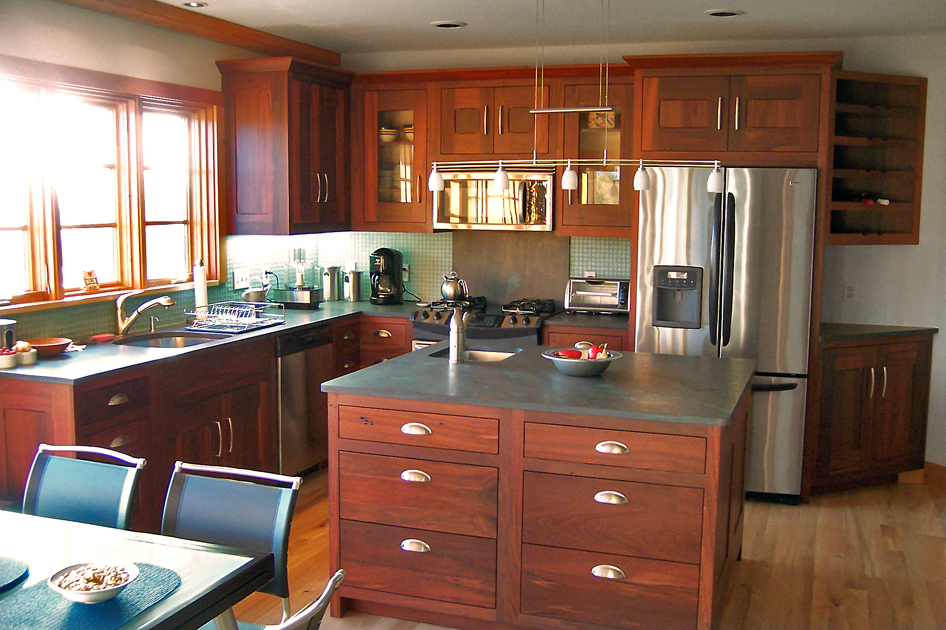 Reclaimed Jarrah kitchen with slate from Vermont.