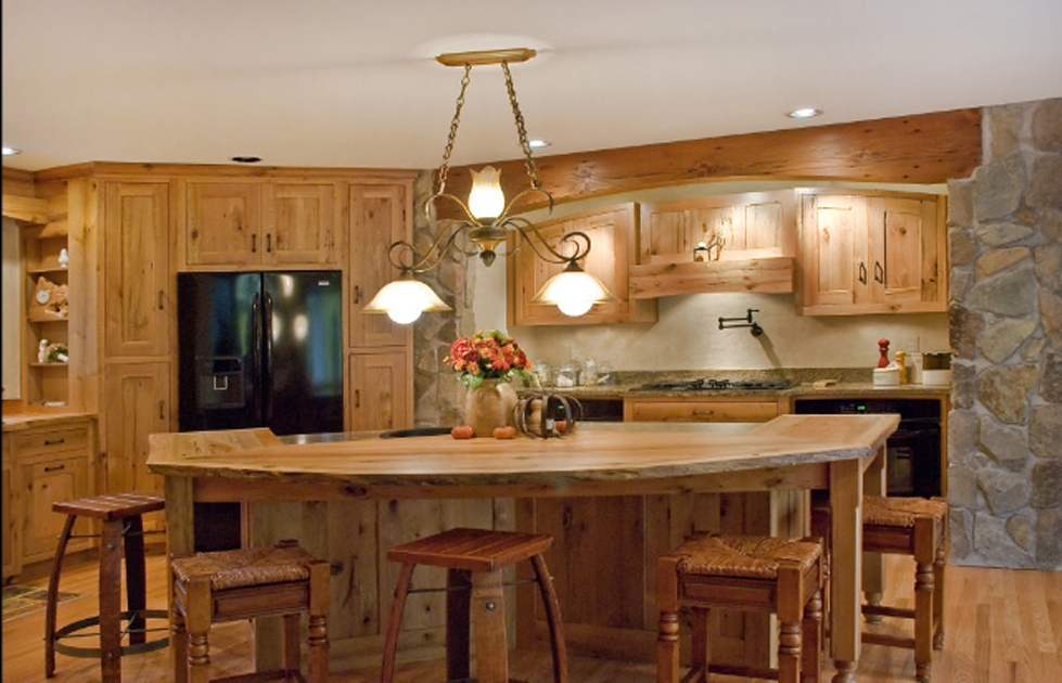 Reclaimed mixed oak cabinetry with mixed hardwoods counter.