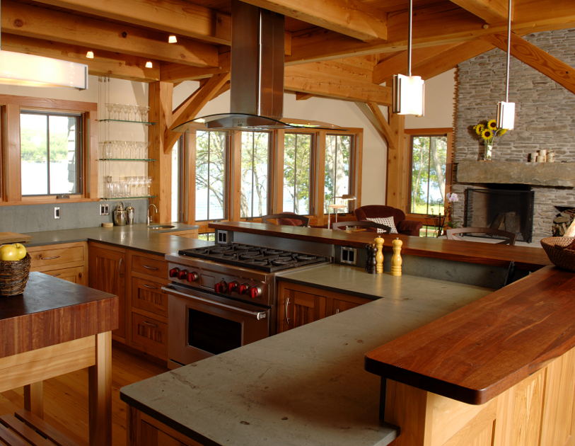 The combination of reclaimed Jarrah and Sheldon Slate offer durability and beauty in a Keuka Lake kitchen.
