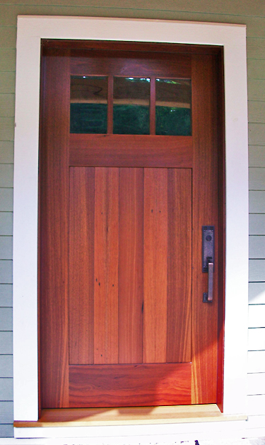 Exterior entrance door made from reclaimed Jarrah (exotic hardwood). D16