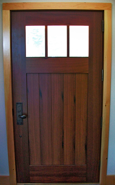 Interior side of reclaimed Jarrah entrancedoor.