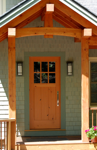 The Reclaimed Douglas Fir Main Entry Door To This Lakeside Home Shows Sings O