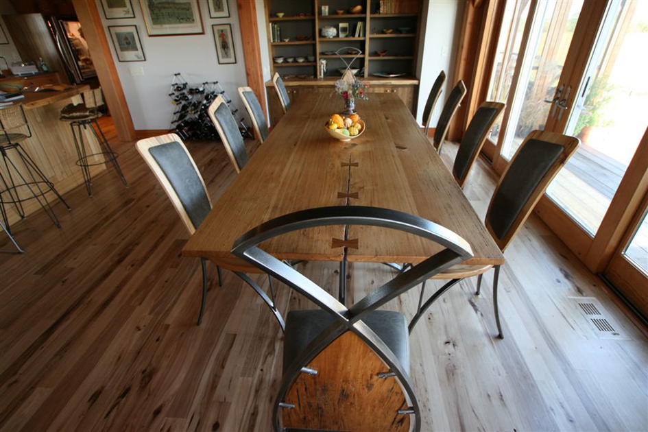 Custom dining room table and chairs.