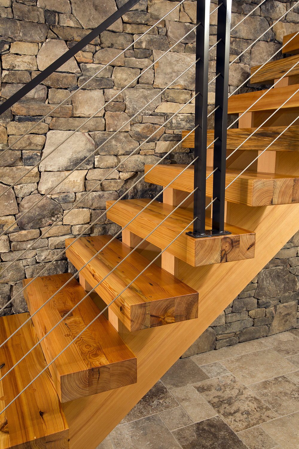 Attractive Heart Pine Stair Treads. Photo © Greg Hadley Photography