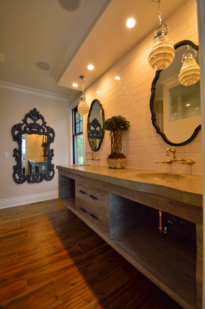 Reclaimed barn wood bathroom vanity.