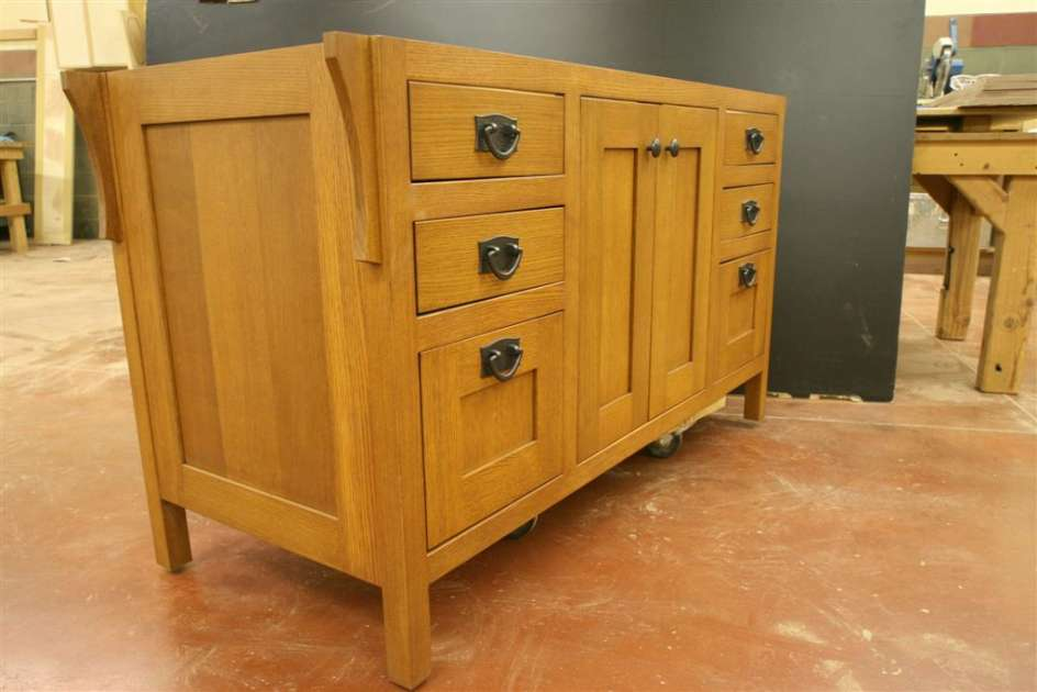 Oak Vanity - counter top and sink ready, located in our East Coast show room.