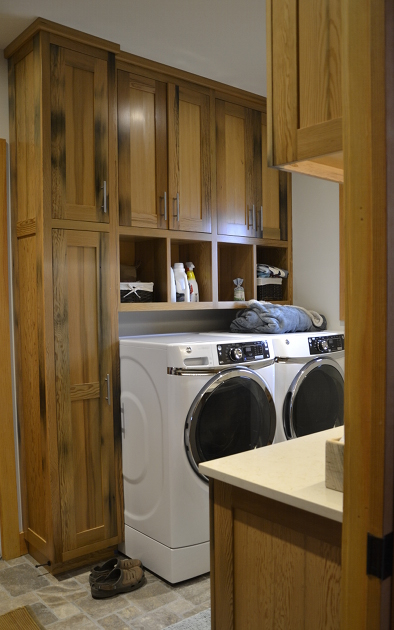 Laundry Room Cabinetry Made of Reclaimed Pickle Vat