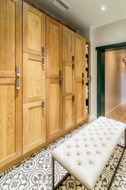 Detail of spa lockers made of fresh-sawn oak