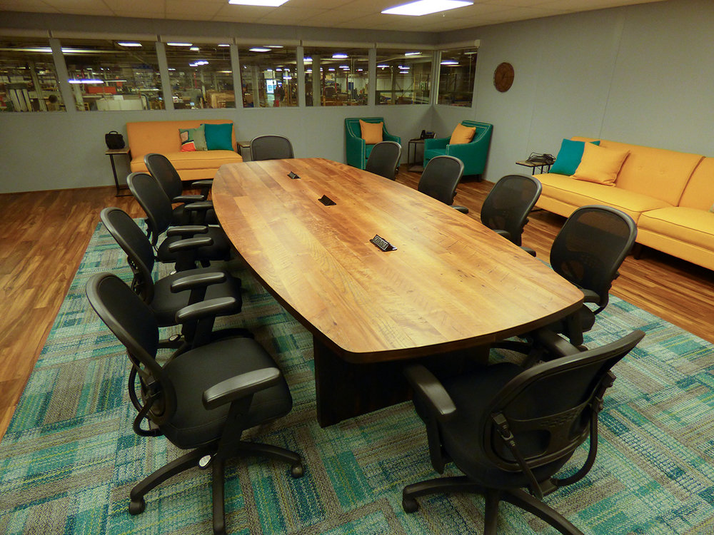 Conference room table with reclaimed top