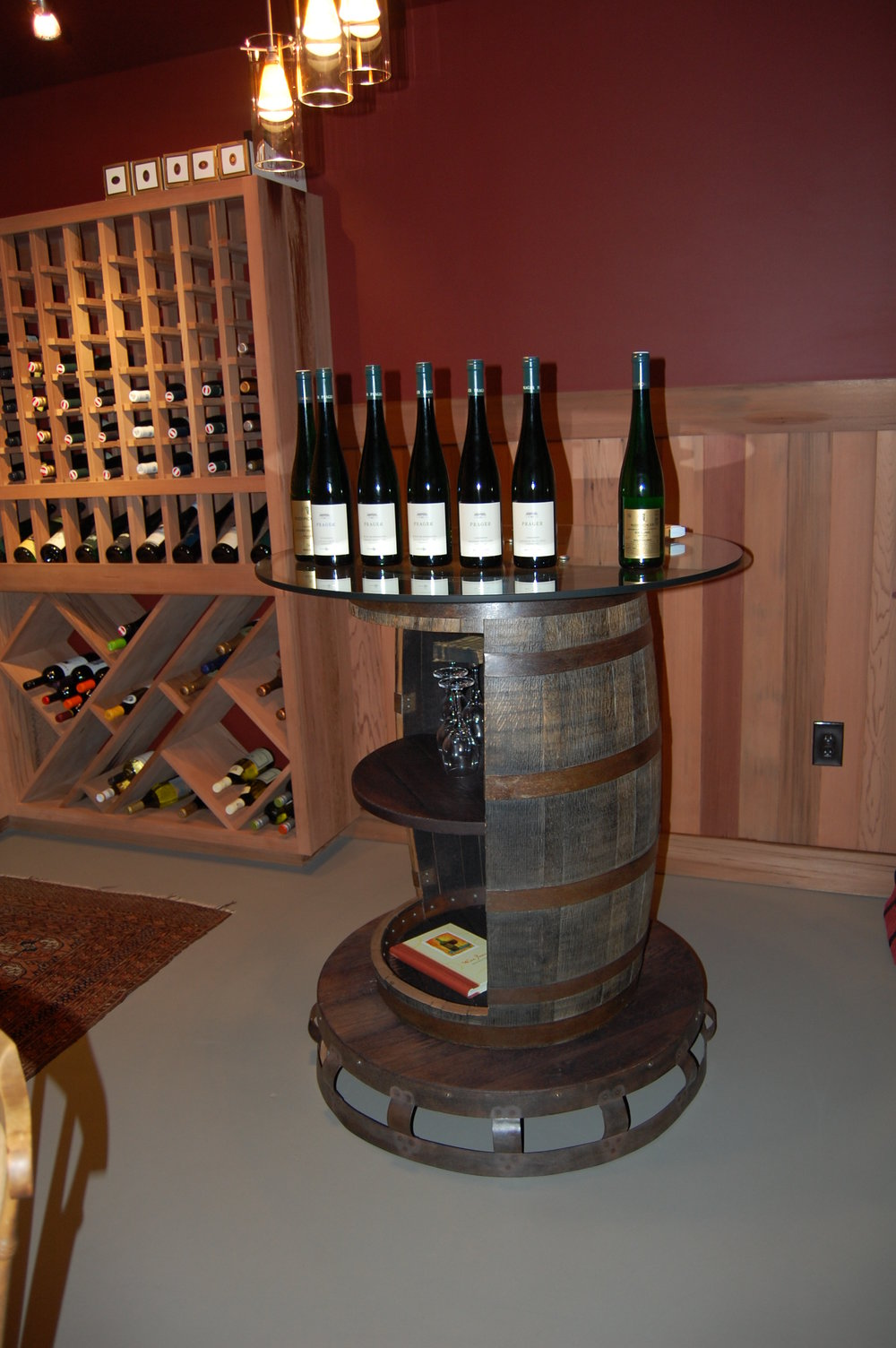 Table made out of a reclaimed wine barrel