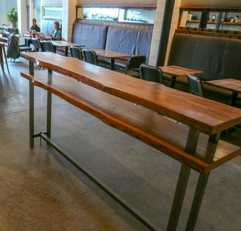 Double top table with live edge for a restaurant