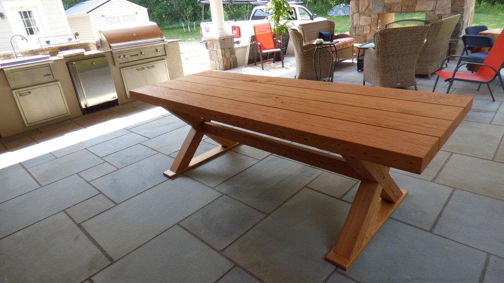 """Reclaimed douglas fir """"x"""" table"""
