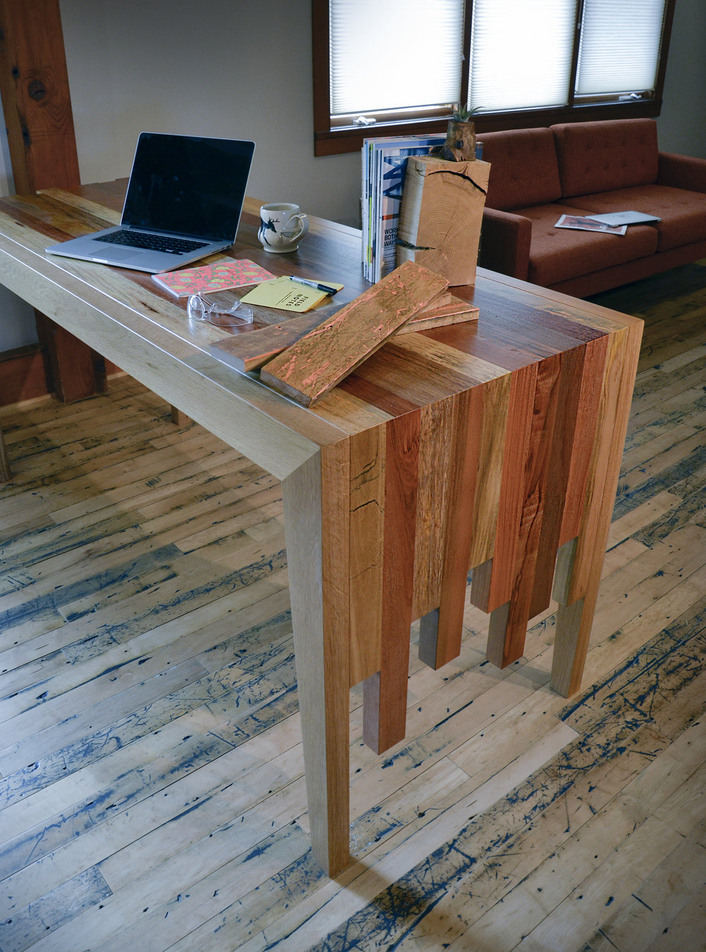 Reclaimed shipping container wood waterfall table