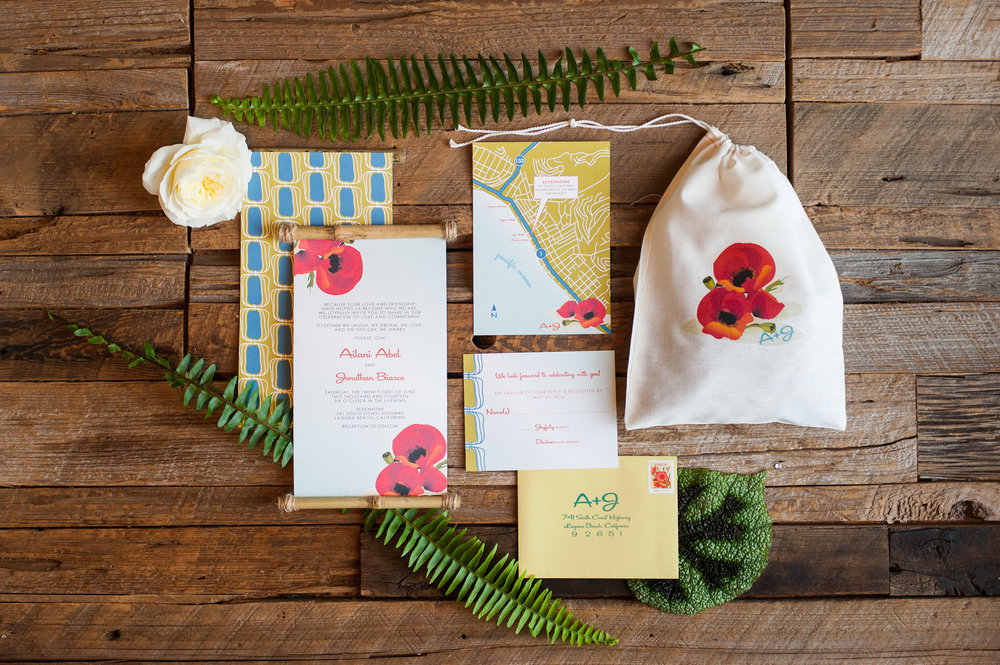 Retro invitation with bamboo details.