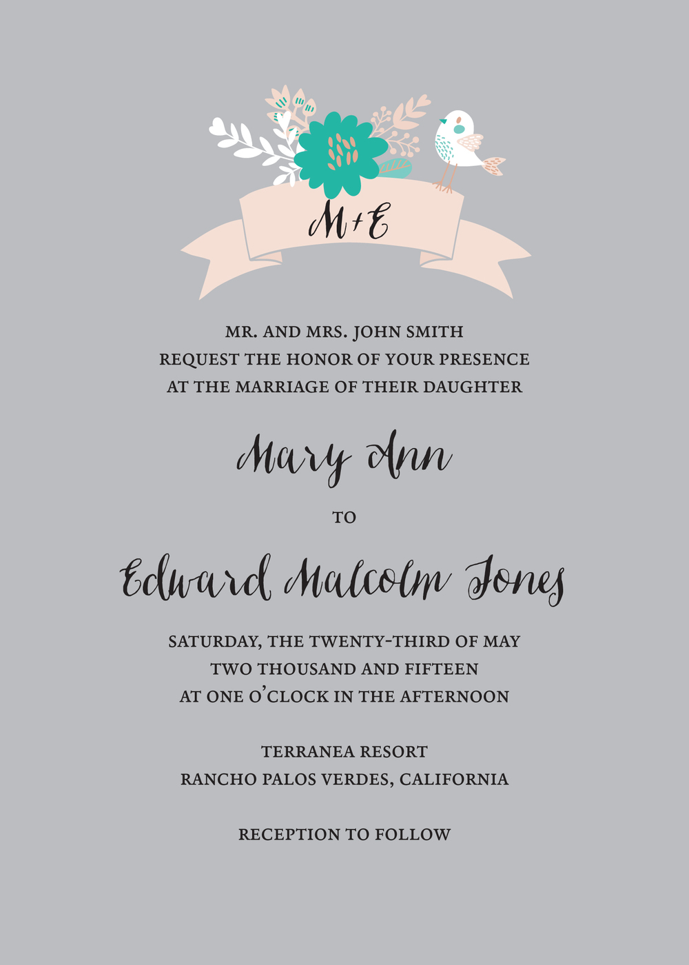 One set of parents hosting invitation wording. Using Merlo for the capped font, and Ondise for the script font. Bird on Banner design.
