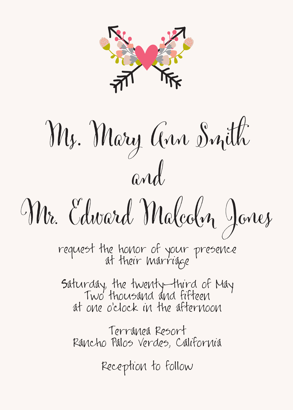 Couple hosting wedding wording. Using Cantoni Pro font for the names and Jayne Print Hand font for the information. Pretty Arrows design.