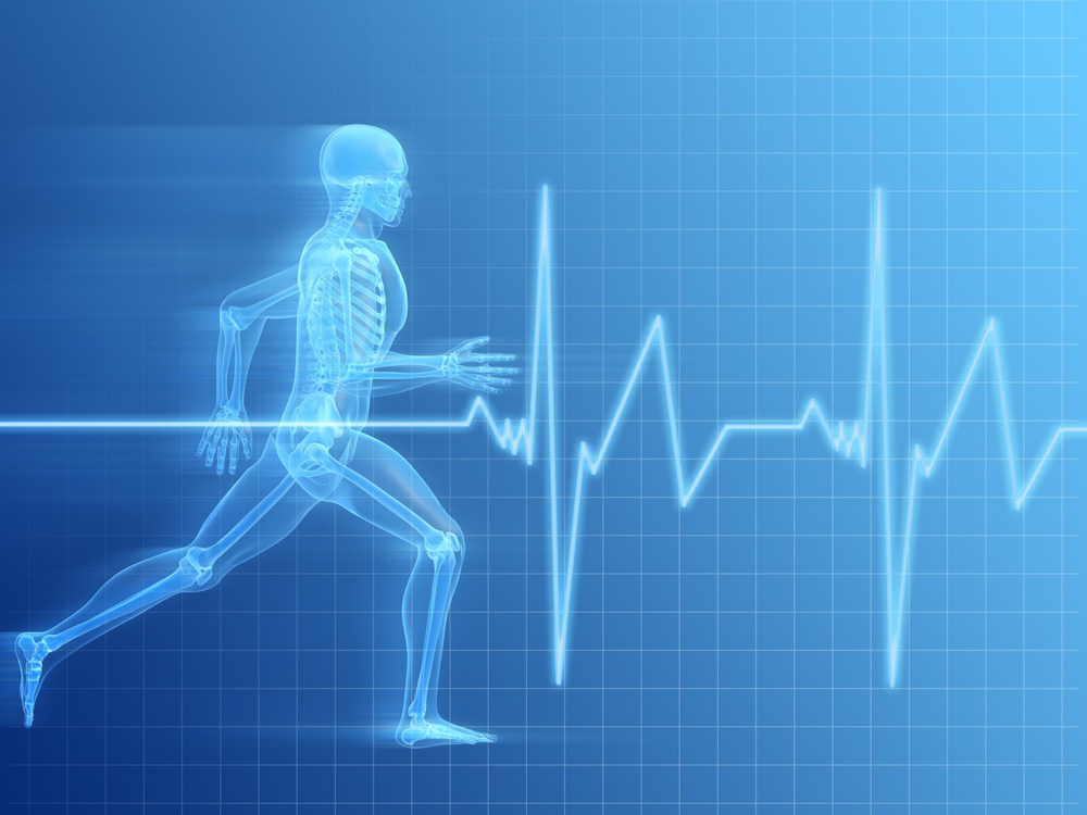 Illustration of transparent man running, Ultimate Health Personal Training Center - Studio City Heart rate graph overlay